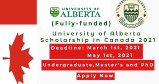 Fully funded University of Alberta Scholarships in Canada 2021