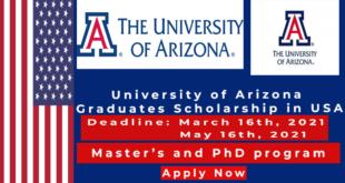Fully funded University of Arizona Scholarships in USA 2021