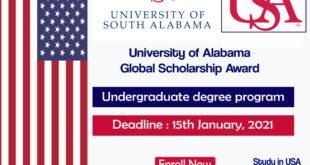 University of Alabama Global scholarship in USA