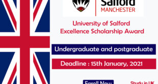 University of Salford Excellence Scholarship Award in UK