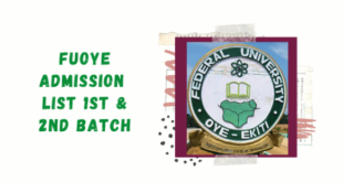 FUOYE RELEASES ADMISSION LIST ON SCHOOL PORTAL FOR 2020/21 SESSION