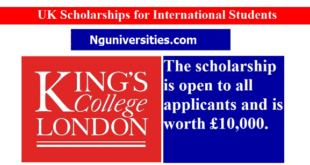 The King's College London Scholarship in UK 2022